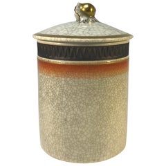 Thorkild Olsen Royal Copenhagen Crackle Glaze Lidded Jar Gilded Acorn Decoration