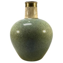 Thorkild Olsen Royal Copenhagen, Green Crackle Glazed Vase Gilded Band #3593