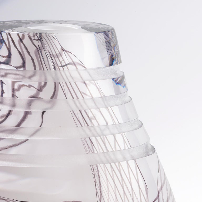 Glass object. Thorn Lace Vase, Inspiration African Jug and Textile Lace In Excellent Condition For Sale In Amsterdam, NL