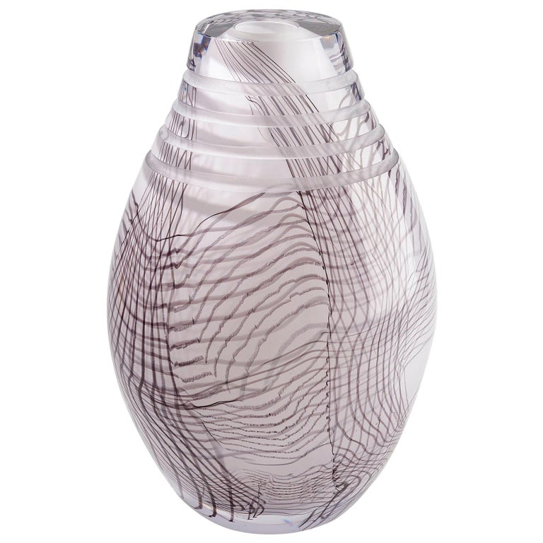 Glass object. Thorn Lace Vase, Inspiration African Jug and Textile Lace For Sale