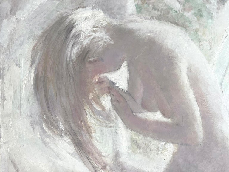 Blond Nude with Cat - White on White Monochromatic - Painting by Thornton Utz
