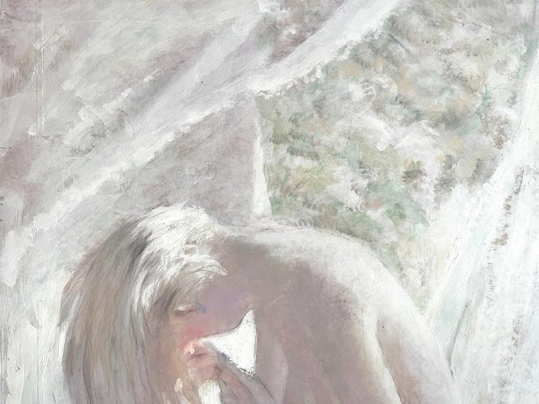 Blond Nude with Cat - White on White Monochromatic - Post-Impressionist Painting by Thornton Utz