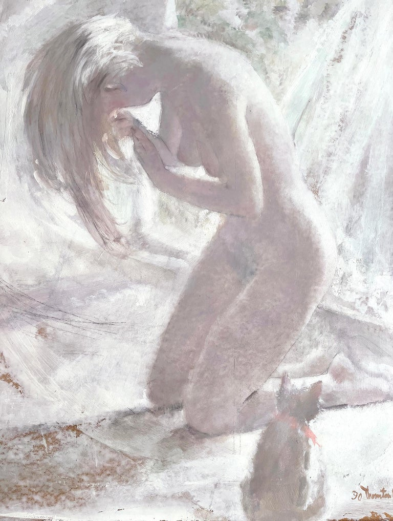 Thornton Utz Nude Painting - Blond Nude with Cat - White on White Monochromatic