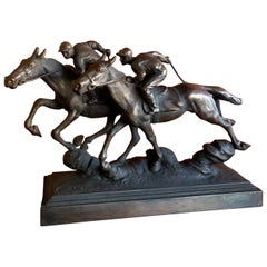 Thoroughbred Horses Racing Bronze Sculpture by Paul Herzel