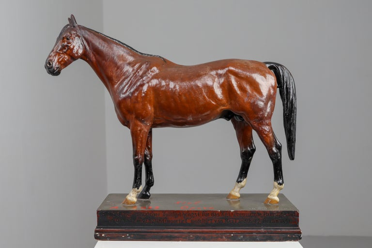 German Thoroughbred Mare Horse Model in Painted Plaster by Max Landsberg, Berlin 1891 For Sale