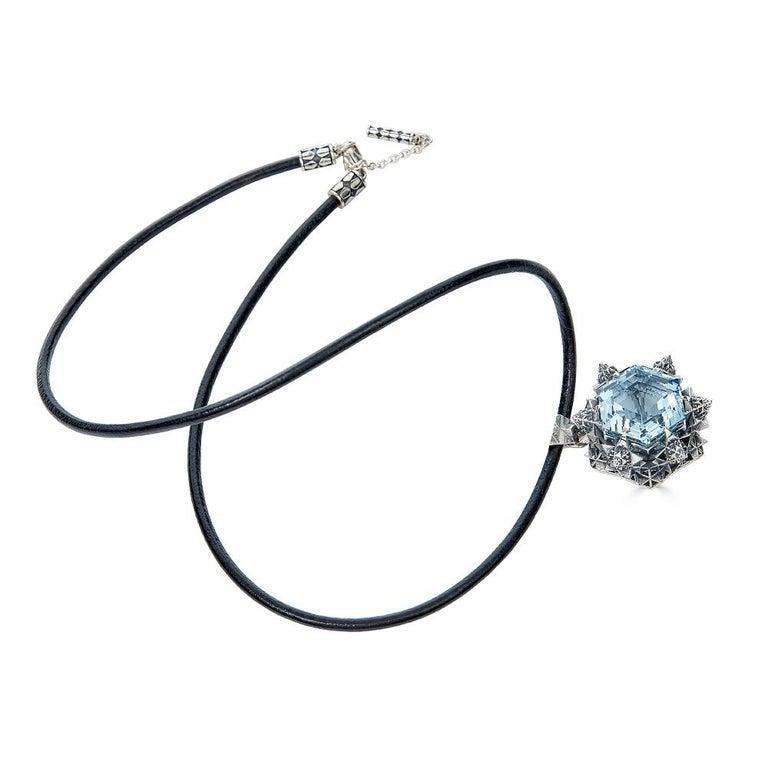 Women's or Men's Thoscene Aquamarine Silver Peace Pendant Necklace For Sale