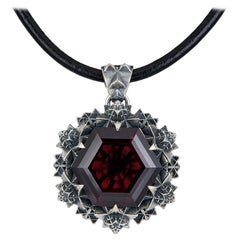 Thoscene Garnet and Sterling Silver Love Pendant Necklace