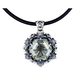 Thoscene Green Amethyst Silver Joy Pendant Necklace