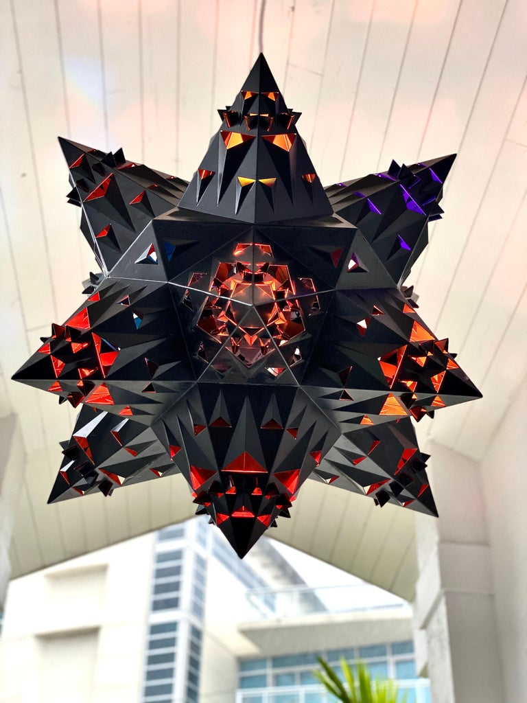 This sacred geometry inspired hex fractal chandelier creates an elegant but sophisticated addition to any space.  There is a meaning for this design using the pattern of 6; (as a numerological aspect of the hexagon) include: Communication,