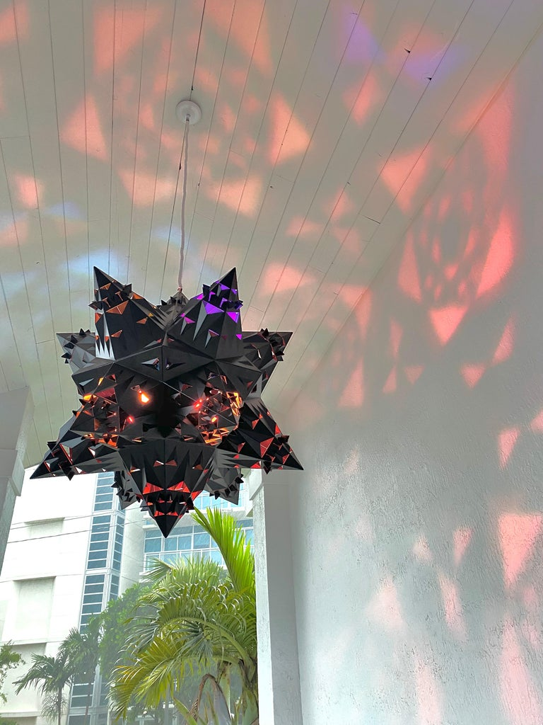 Brutalist Thoscene Tetrahedron Star Chandelier For Sale