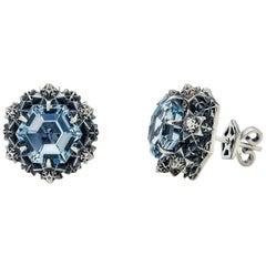 Thoscene Topaz Silver Peace Earrings