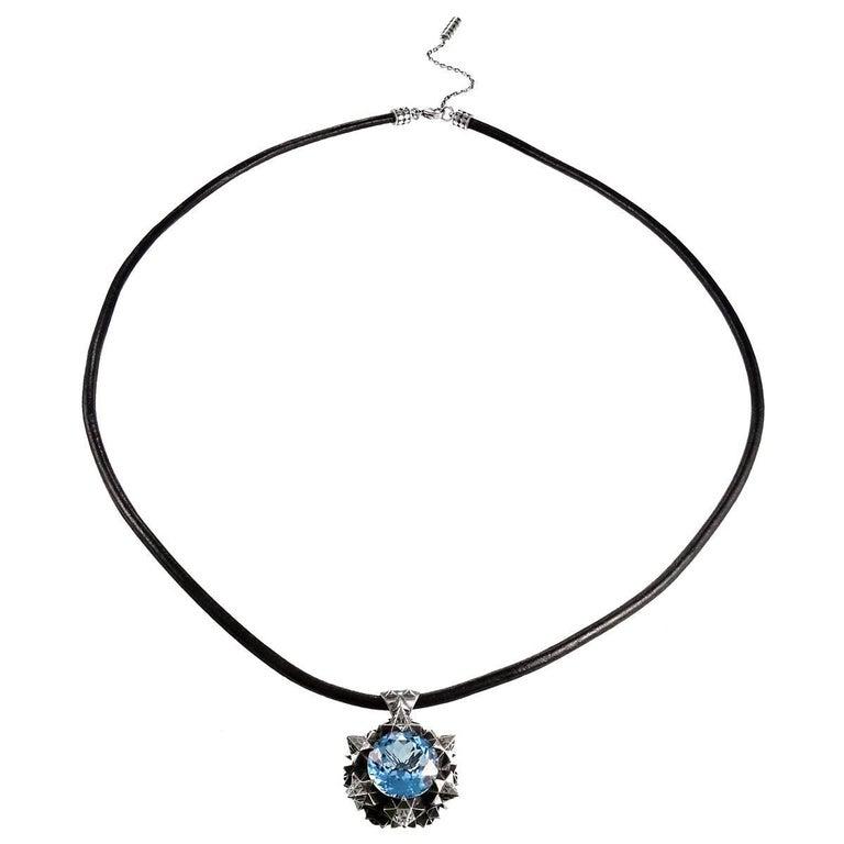 Modern Thoscene Topaz Silver Peace Pendant Necklace For Sale