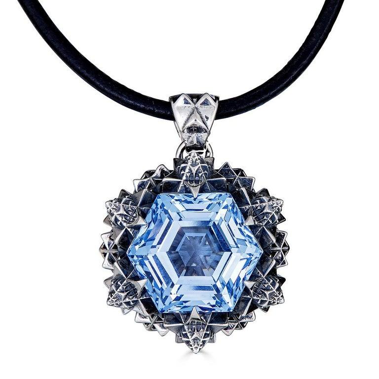 Women's or Men's Thoscene Topaz Silver Peace Pendant Necklace For Sale