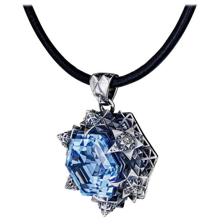 Thoscene Topaz Silver Peace Pendant Necklace For Sale