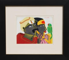 "Duet with Parrot, Couples, Acrylic on Canvas by Modern Indian Artist ""In Stock"""