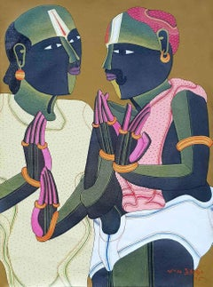 "Pandits, South Indian, Acrylic on Canvas, Red, Pink, Green from India ""In Stock"""
