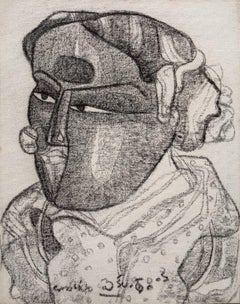 """Telengana Couple, Charcoal on Canvas by Modern Indian Artist """"In Stock"""""""