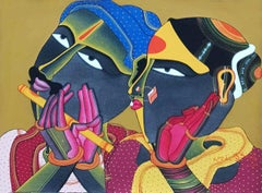 "Telengana Couple, Romance, Acrylic on Canvas, Red, Yellow, Blue ""In Stock"""
