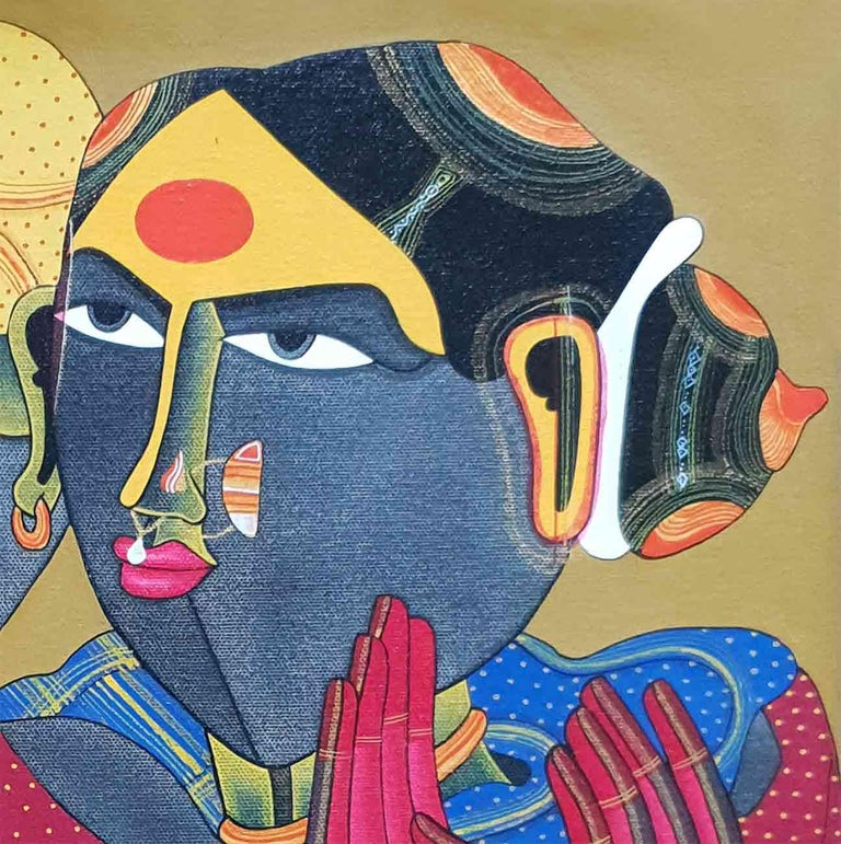 Thota Vaikuntam - Telengana Couple - Acrylic on Canvas Unframed Size : 12 x 16 inches     Framed Size : 20 x 24 inches Inclusive of shipment in roll form.  Thota Vaikuntam is one of the Greatest Artist from the Indian Sub-contitent. He is