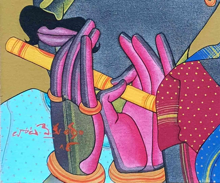 Telengana Couple, South Indian, Acrylic on Canvas, Red, Yellow, Blue