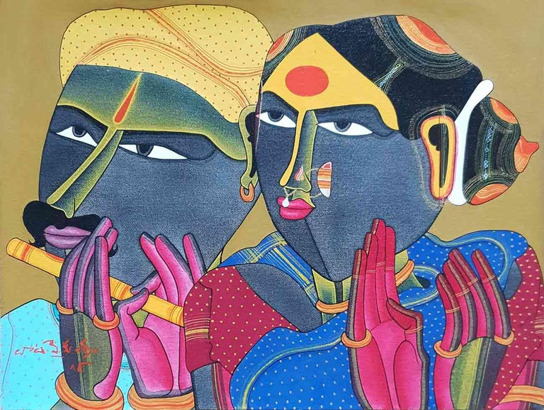 "Thota Vaikuntam Figurative Painting - Telengana Couple, South Indian, Acrylic on Canvas, Red, Yellow, Blue ""In Stock"""