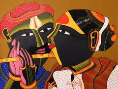 """Telengana Couple, South Indian, Acrylic on Canvas, Red, Yellow, Brown """"In Stock"""""""