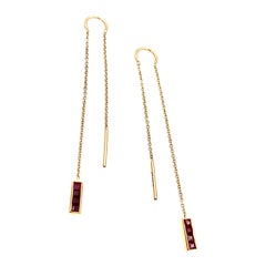 Threadthrough Rose Gold Chain and Ruby Channel Set Dangle Earrings