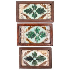 Three 16th Century Spanish Tiles Made with the Dry String Technique