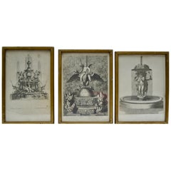 Three 18th Century Engravings of Fountains at Versailles Gardens by A. Aveline