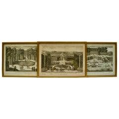 Three 18th Century Engravings  of Versailles Garden by Antoine Aveline