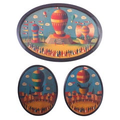 Three 1928 Oil Paintings on Tin of Air Balloons by Jean Carrau