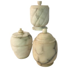 Three 1950s Carved Carrara Marble Canisters