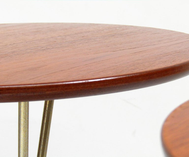 Three 1950s Swedish Round Atomic Side Tables in Teak & Brass by Albert Larsson For Sale 5
