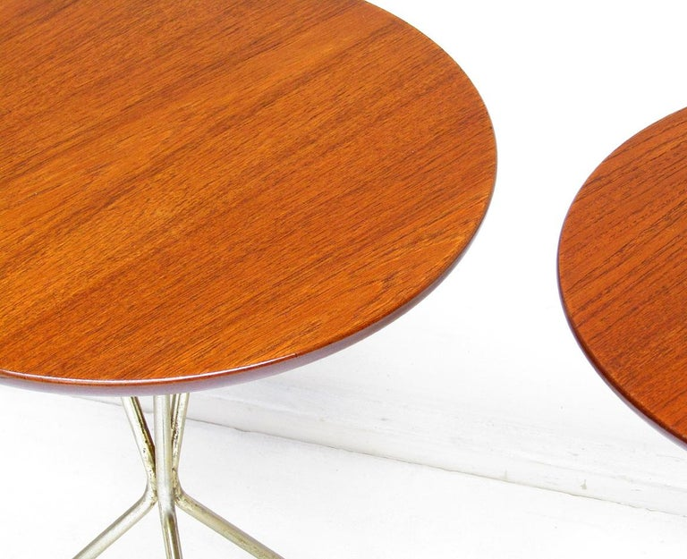Three 1950s Swedish Round Atomic Side Tables in Teak & Brass by Albert Larsson For Sale 6