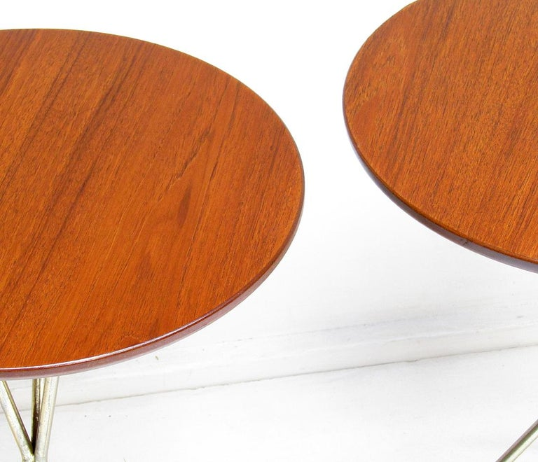 Three 1950s Swedish Round Atomic Side Tables in Teak & Brass by Albert Larsson For Sale 7