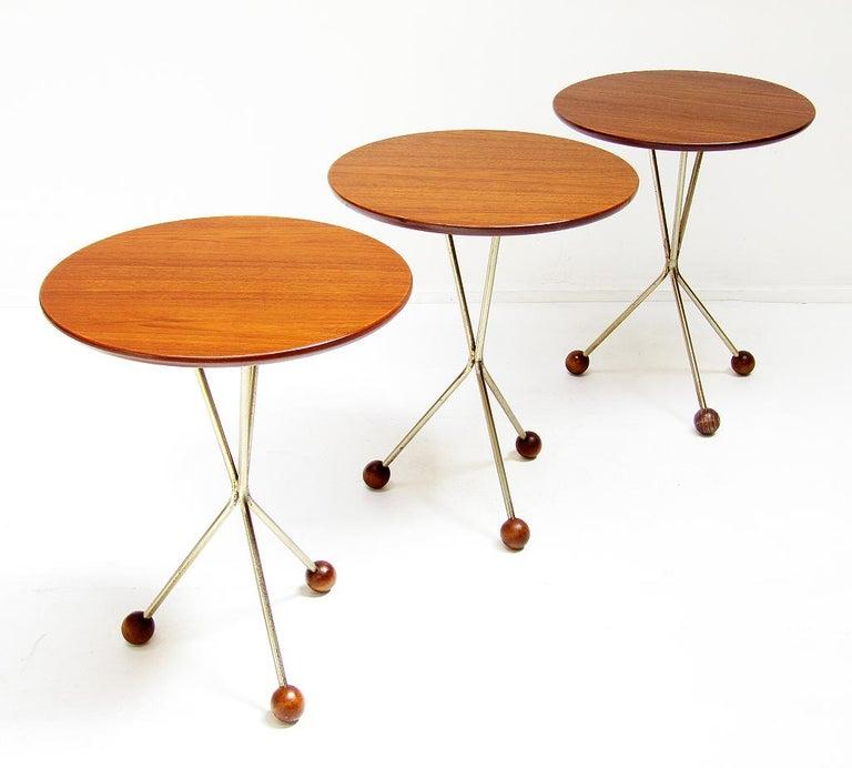 Mid-Century Modern Three 1950s Swedish Round Atomic Side Tables in Teak & Brass by Albert Larsson For Sale