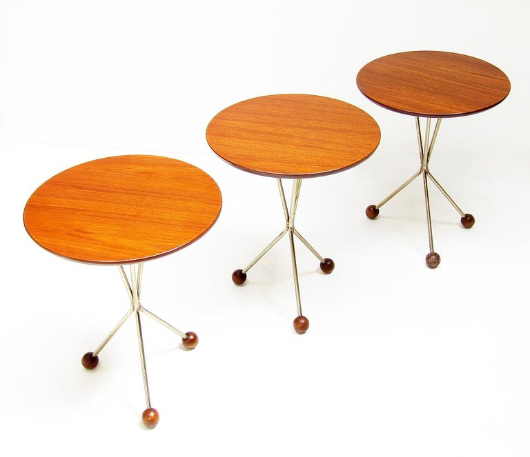 Three 1950s Swedish Round Atomic Side Tables in Teak & Brass by Albert Larsson In Good Condition For Sale In Shepperton, Surrey
