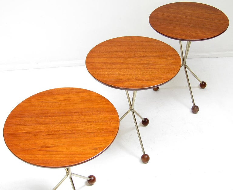 20th Century Three 1950s Swedish Round Atomic Side Tables in Teak & Brass by Albert Larsson For Sale