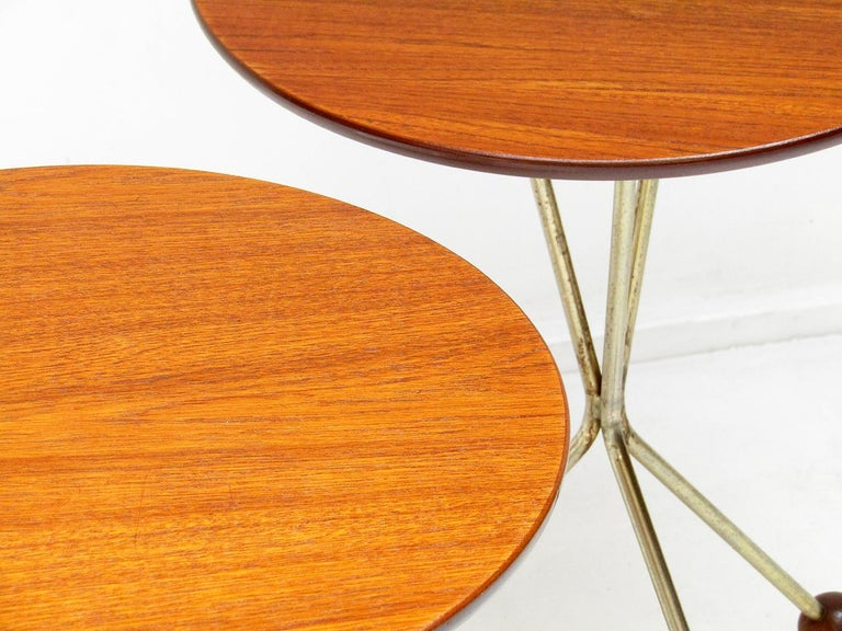 Three 1950s Swedish Round Atomic Side Tables in Teak & Brass by Albert Larsson For Sale 1