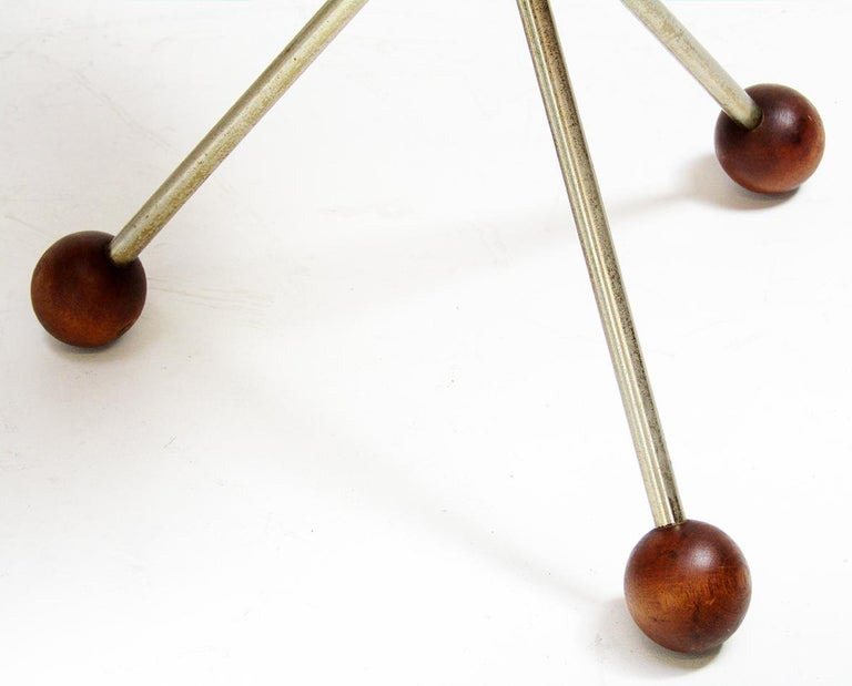 Three 1950s Swedish Round Atomic Side Tables in Teak & Brass by Albert Larsson For Sale 2