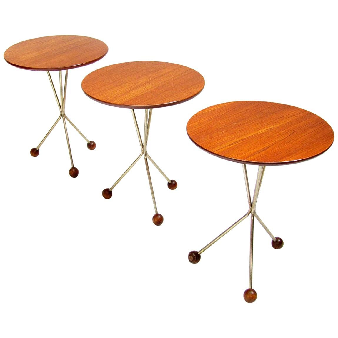 Three 1950s Swedish Round Atomic Side Tables in Teak & Brass by Albert Larsson