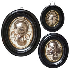 Three 19th C. French Memento Mori Hair Art Mourning Souvenirs in Oval Frames