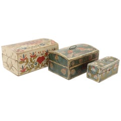 Three 19th Century French Painted Wedding Boxes