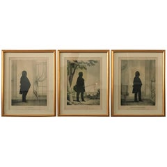 Three 19th Century Silhouette Lithographs of Gentlemen
