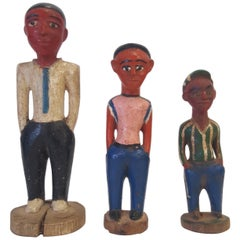 Three 20th Century, Wooden Ivory Coast Colonial Male Figures