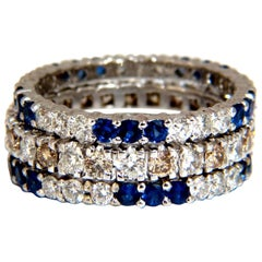 Three 3.20ct stackable natural blue sapphires and fancy color diamonds rings