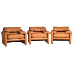 Three 675 Maralunga Tobacco Leather Adjustable Headrest Armchairs