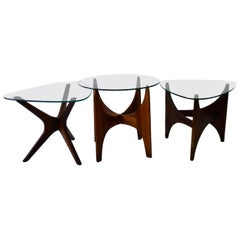 "Three Adrian Pearsall Craft Associates Walnut ""Jacks"" Occasional Tables"