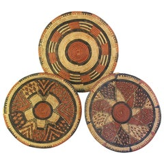 Three African Coiled Basket Trays, Hausa, Nigeria, 20th Century, Tribal Art