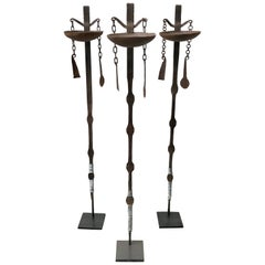 Three African Forged Iron Oil Lamps